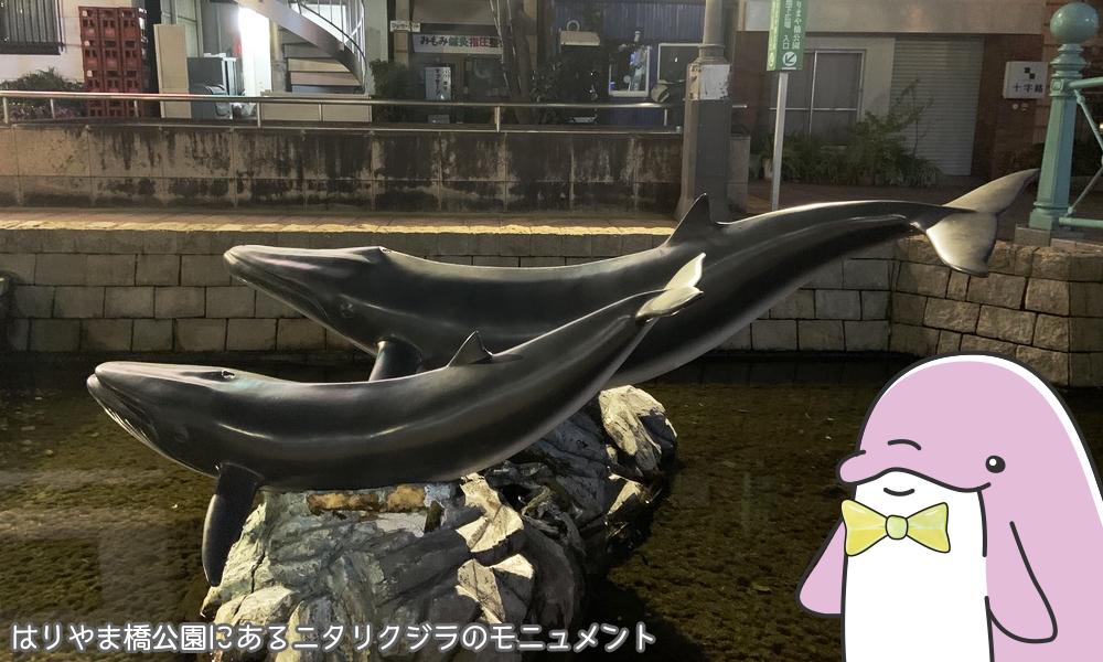 はりやま橋公園にあるニタリクジラのモニュメント